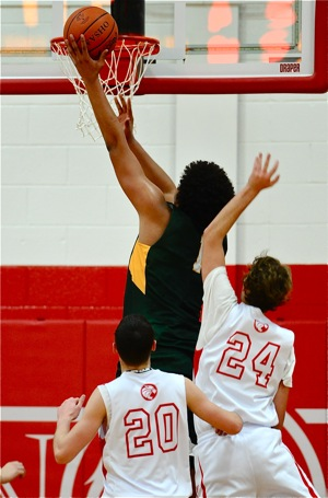 What it looks like at the rim...his size makes TC's Anderson a rare commodity in Division IV basketball.