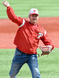 Remembering Zach Farmer, his dad Larry threw out the first pitch of Saturday's double-header.