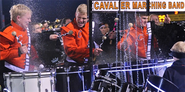 Coldwater Drummers splashed their way thru their half-time show.