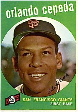 Cepeda's rookie photo on the 1959 Topps baseball card.