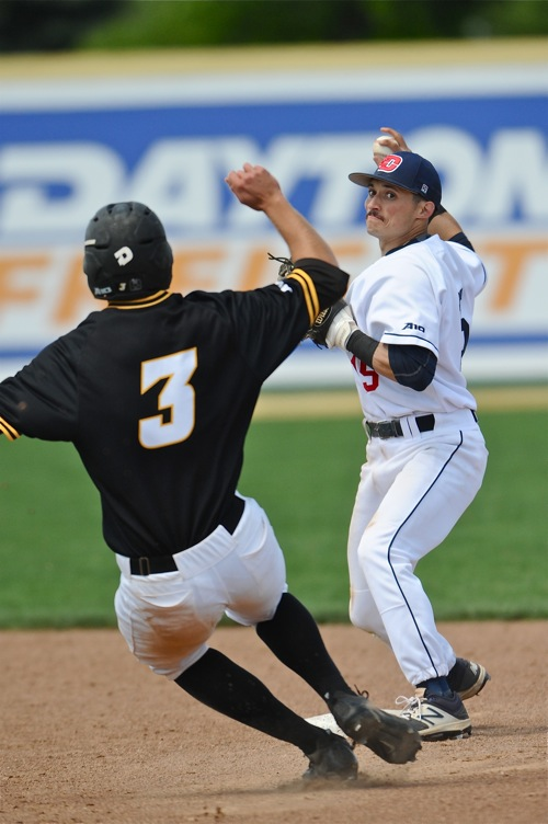 Nick Ryan turns one of four Flyer double plays on the day that erased eight VCU potential runs.