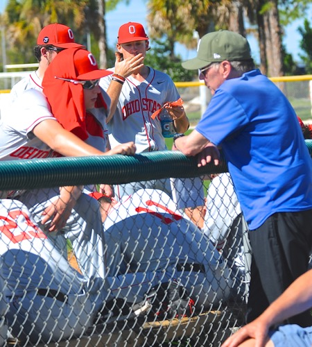 At Vero Beach, Greg interacts with some of the players.