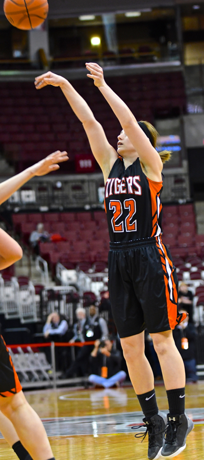 The Tigers started well on made three-pointers, here one by Kamryn Elchert.