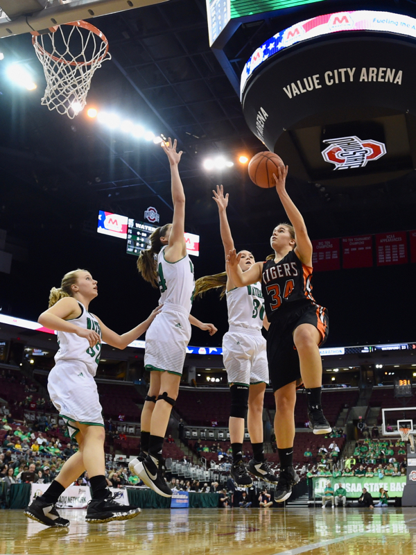 Vanessa Winner (#34) has a big moment scoring at the Schott in Thursday's semi-final game.