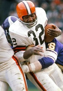 The incomparable Jim Brown in his last year of action with the Browns.