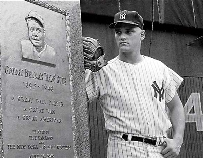 """Roger Maris in """"monument valley"""" of old Yankee stadium, with the statue of the icon whose record he broke in the summer of '61...Babe Ruth."""