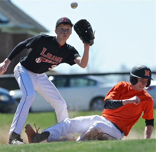 Loramie sophomore Ethan Pleiman waits for a throw that was too late to nip a sliding  Wildcat runner.