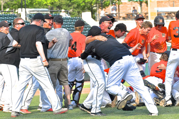 Happiness in the middle of the infield, but the real celebration awaited Minster back home as they returned with their third baseball title since 2011.