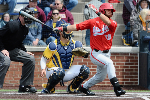 Andrew Fishel's double in the ninth drove in the second run and gave the Buckeyes hope.