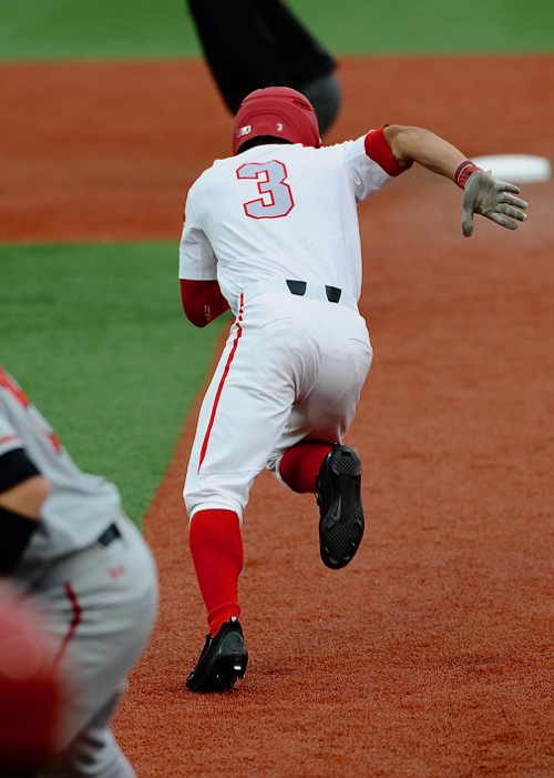 Tre' Gantt is off and stealing in the first inning, and ultimately scored on a base hit by