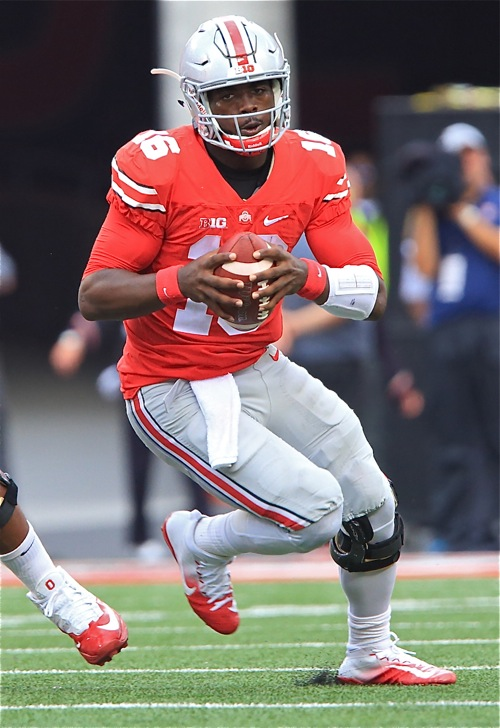 J. T. Barrett had a so-so day, but scored two rushing touchdowns in the 48-3 rout of Tulsa.
