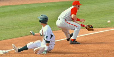 A Spartan's hit to right field didn't quite make the out at third base for the Buckeyes.