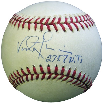 A rare Vada Pinson signed baseball from the 80s...a much-prized vintage Reds' memento.