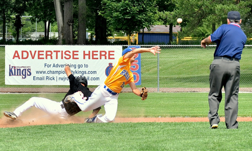 Force out at 2nd allows Evan Monnier to attempt a tripped up double play.