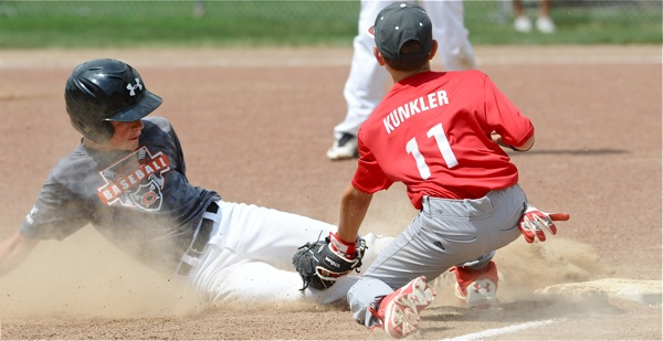 Coldwater's Marcel Blasingame was out trying to stretch a hit into a triple.