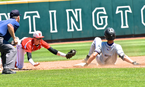 CHCA's Adam Rakestraw beats the tag attempt for a fifth inning double.