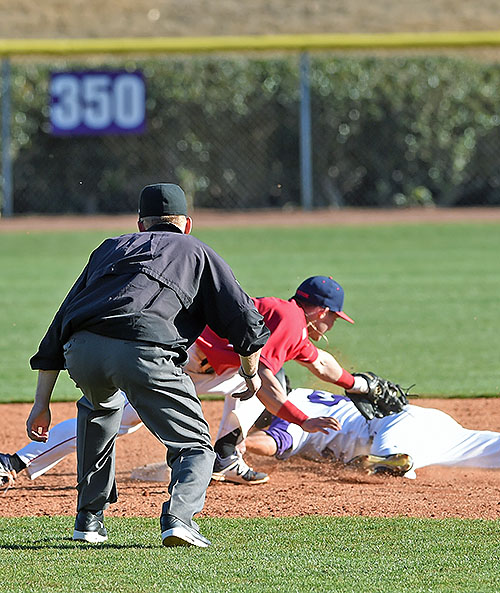 The Final Out...Second baseman Nick Ryan reaches to tag David Webel as he overslides second for the game's final out.