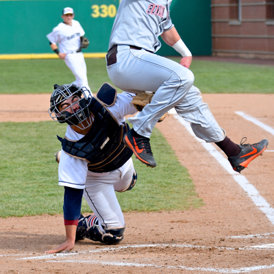 UD's catcher - Bailey Montoya air tags Bowling Green player.