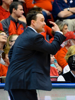 Coach Archie Miller making eye to eye calls with his team.