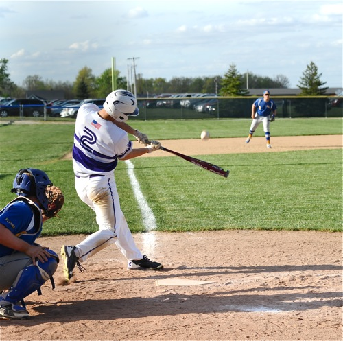 Normally making impact on the mound, junior Nick Thwaits scored a run and cracked a third inning double.