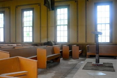 """The abandoned """"Old German"""" church, the worship and meeting place for families and many of my classmates from Linville, Ohio."""