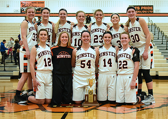 The Minster Wildcats pose for a Championship Team photo after a 48-42 win over Fort Recovery on Thursday. (Photo by Dale Barger)