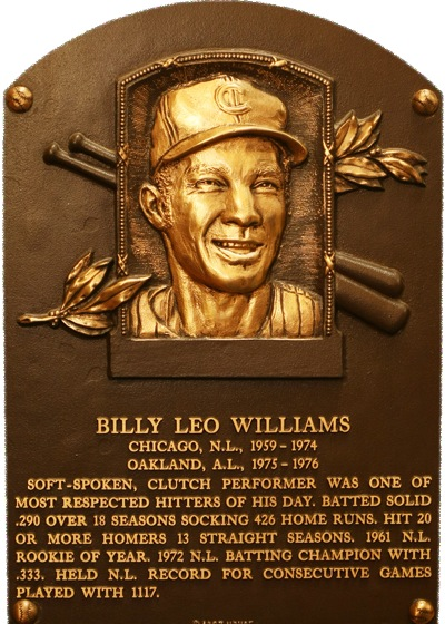 Billy Willams entered the Hall of Fame in 1987 having played 17 of his 18 seasons with the Cubs...and one lone year in Oakland.