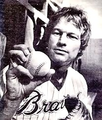 Jim Bouton shows his knuckleball grip as a member of the 1978 Savannah Braves.