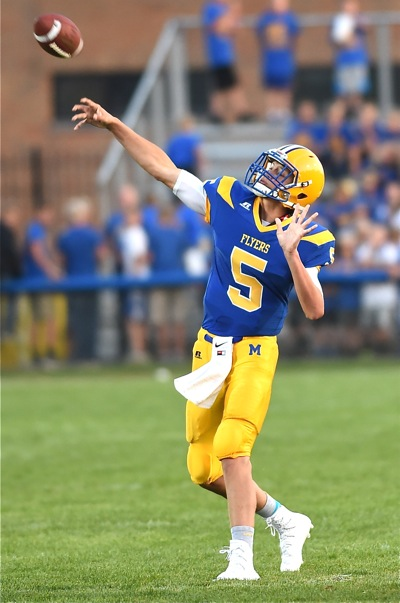 Nate Bruns uncorks one of his nine completions (in 13 attempts) for 122 passing yards.