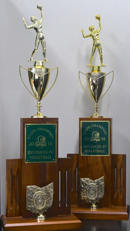 In Kim Metz's office sit two state championship trophy's waiting for a spot to go when construction is finished.