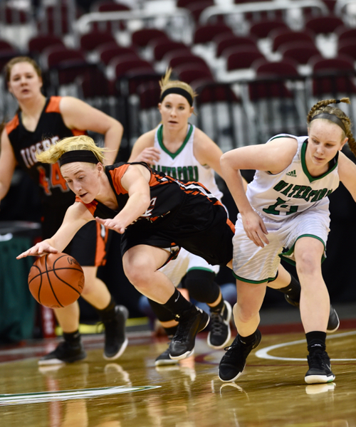 It was physical.  Kennadie Reese gets a shove in the back going for a loose ball.