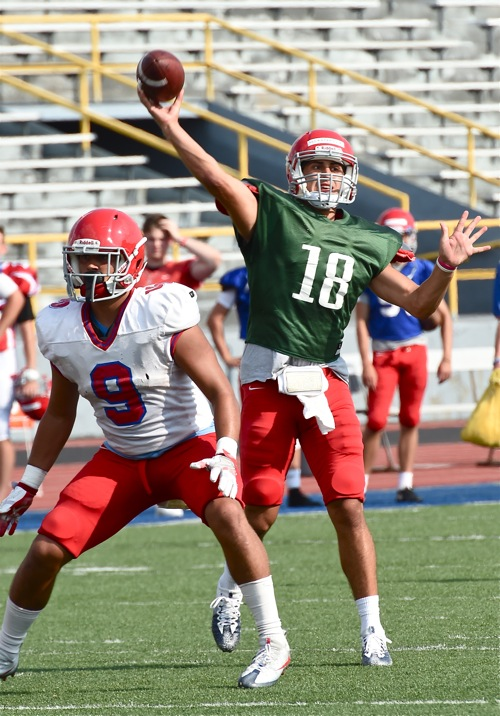 Prepping for duty...backup quarterback Kyle Kaparos cuts loose during Saturday's scrimmage.  Kaparos is competing to fill in for injured starter, Alex Jeske.