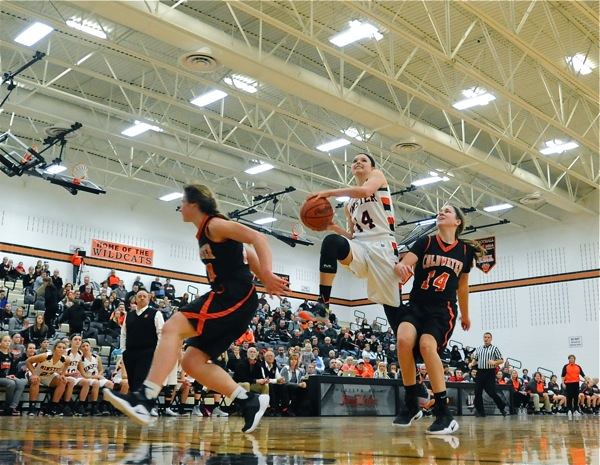Minster's Rosie Westerbeck charges to the rim for two of her nine points.