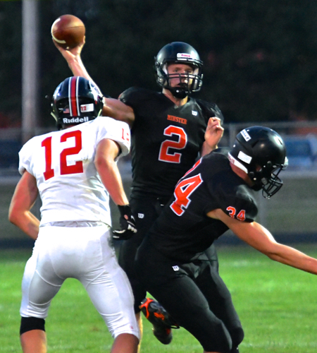 The senior signal caller, Jared Huelsman, was a dominant force on both sides of the ball as he took control of the game.