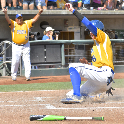 Russia broke through first, Hunter Cohee scoring in the second inning on an Evan Monnier single.