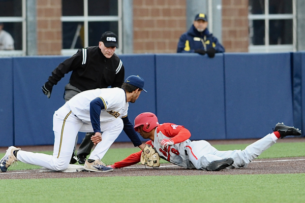 Noah West was thrown out trying to advance on a passed ball in the sixth inning.