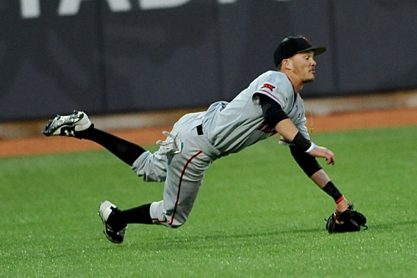 Defensive play of the game...Texas Tech left fielder Grant Little makes a shoestring catch to deny OSU's Bo Coolen of a base hit.