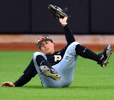 Purdue right fielder Alec Olund comes up with a diving play to rob Noah McGowan of a hit in the sixth inning.
