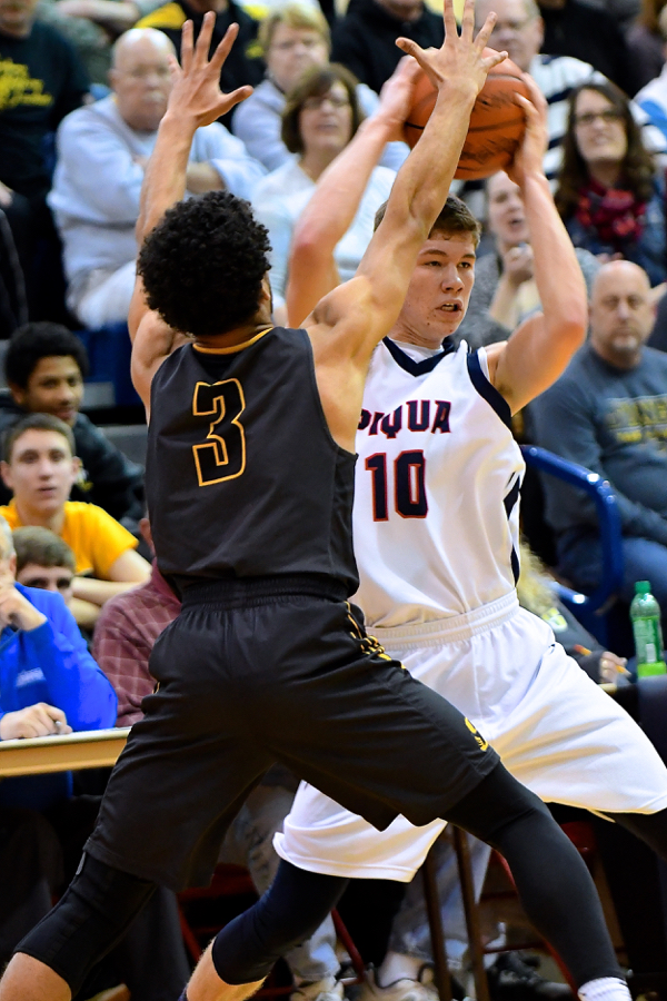 Hayden Schrubb looks for a teammate to throw to, Hayden added 8 points to the Indians score.