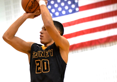 Andre Gordon shoots in a patriotic moment.