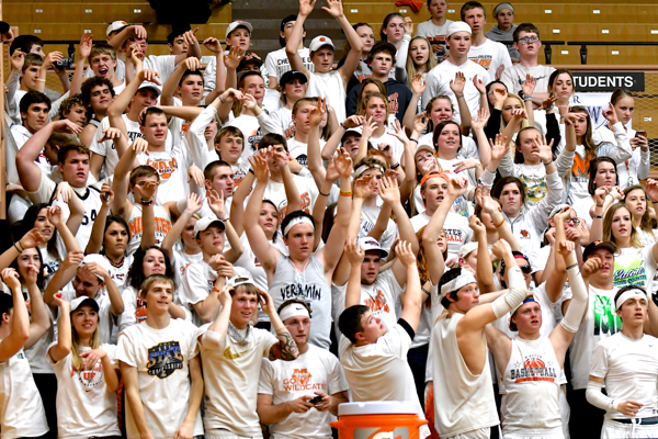 """Minster Girls Basketball team """"Groupies"""" cheered them all the way to the end with a win to the Regional Finals."""