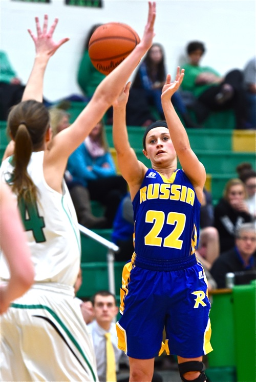 Whitney Pleiman launches one of her two fourth quarter three pointers in the Raiders' Monday win.