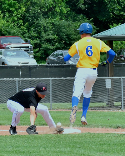 Hunter Cohee's infield hit allowed him to make it to first base on Redskin errors.