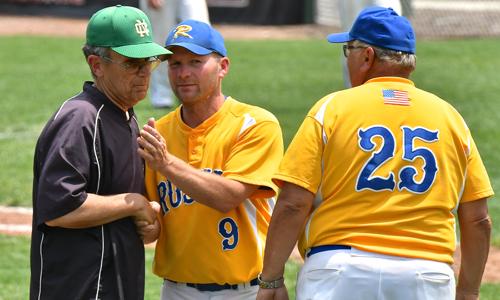 Kevin Phlipot with a heartfelt hand-shake to Newark's Coach John Cannizzaro.