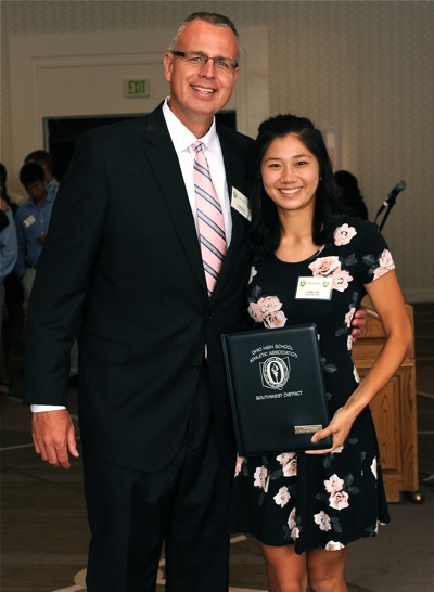Athletic director Chip Hare accompanied Piqua's Ashley Ho for her award.