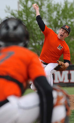 Wildcat Devin Wehrman was starting pitcher against Celina at the Ft Loramie Invitational.