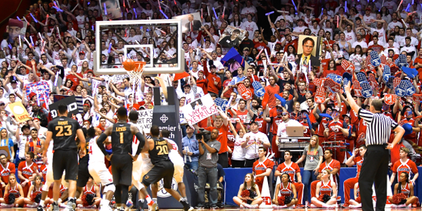 Foul disturbances from the UD student section for the VCU players trying to shoot their foul shots.