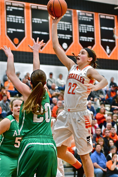 Clair Schmitmeyer drives it in for a lay-up.