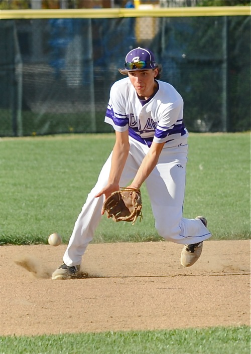 His defense was on its toes...shortstop Ben Homan corrals a ground ball in the sixth inning.
