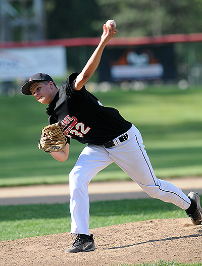 Jared Middendorf threw well in earning the win, but it was his bat that sparked the Redskins with two clutch hits.
